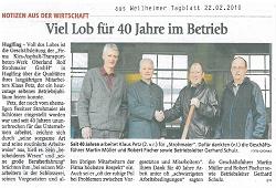 40jähiges Firmenjubiläum von Mitarbeiter, Herr Petz Klaus, feierte am 03.02.2010